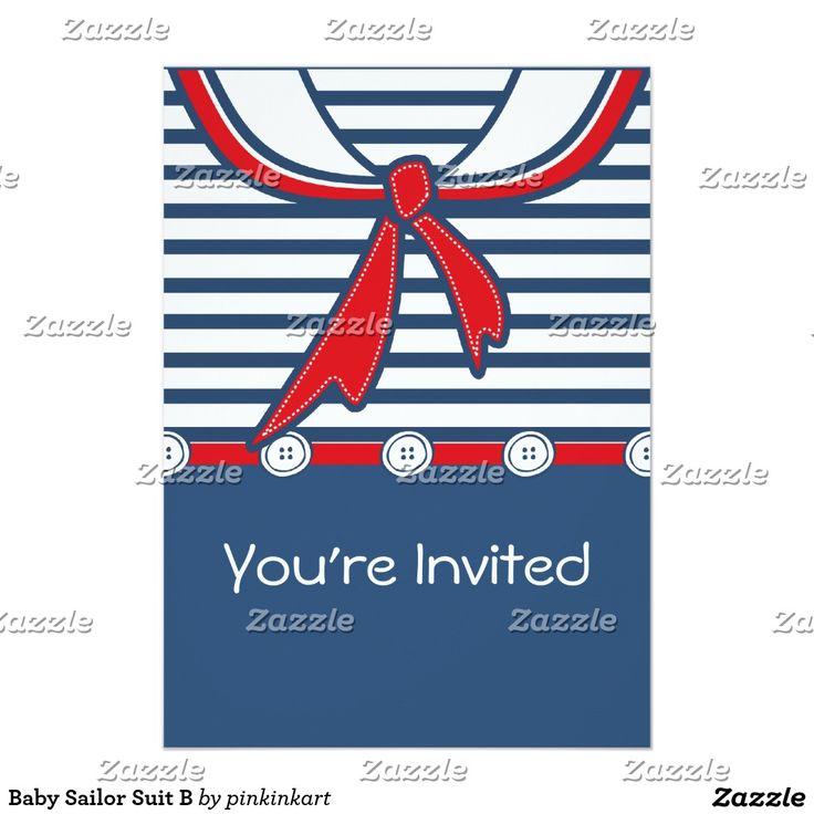 Terno de marinheiro B do bebê Convite 12.7 X 17.78cm