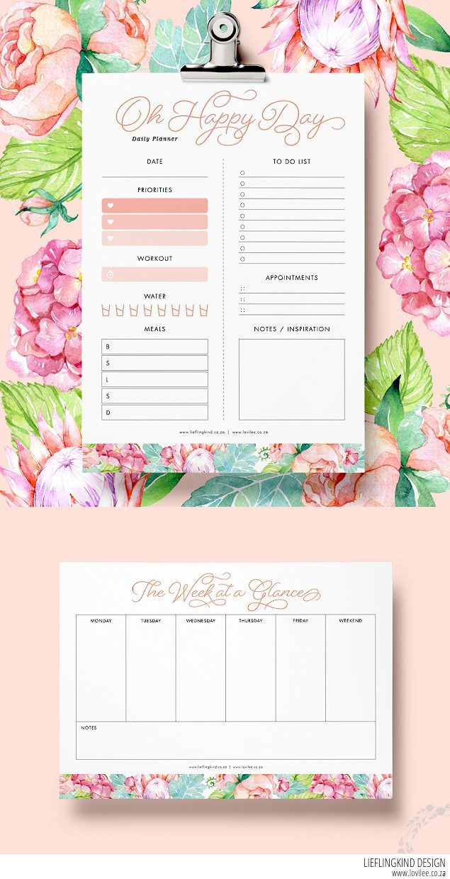 Free Printable Daily and Weekly Planners from Lovilee