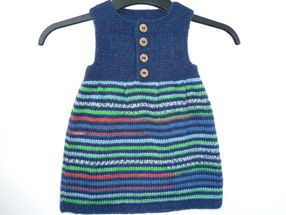 Hand knit baby girl dress, sweater, wool and alpaca, navy blue, size 12 / 18 months