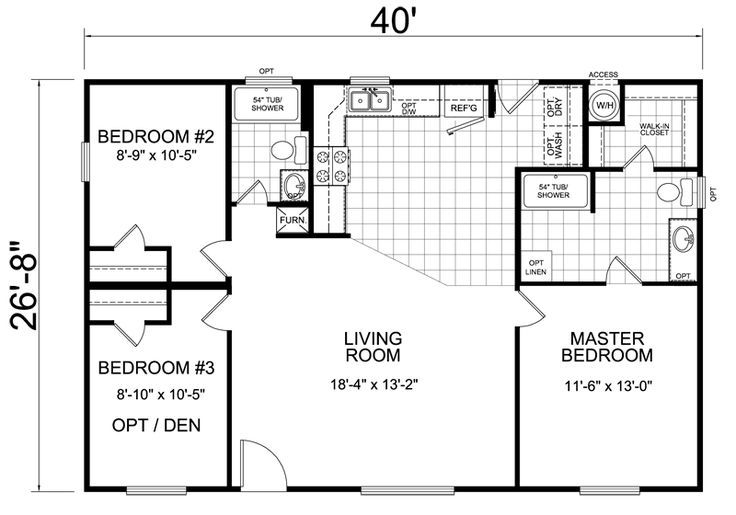 Home 28 X 40 3 Bed 2 Bath 1066 Sq Ft Little House On The Trailer How To Arrange 3 Beds In Small House Floor Plans Tiny House Floor Plans House Plans