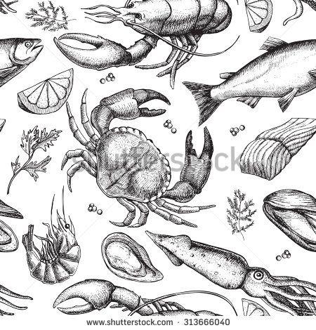 Vector hand drawn seafood pattern. Vintage illustration