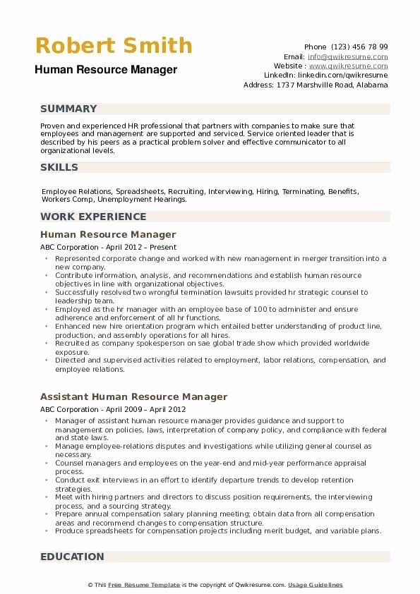 Human Resources Manager Resume New Human Resource Manager Resume Samples Good Resume Examples Job Resume Examples Human Resources Resume