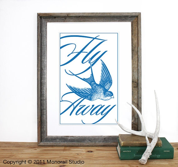 Fly Away Screenprint 125 x 19 in Pick your color by Monorail, $20.00: Wall Art, Color, Poster, Art Ideas, Screenprint 12 5, House, Screenprint 125, Birds, Flying Away