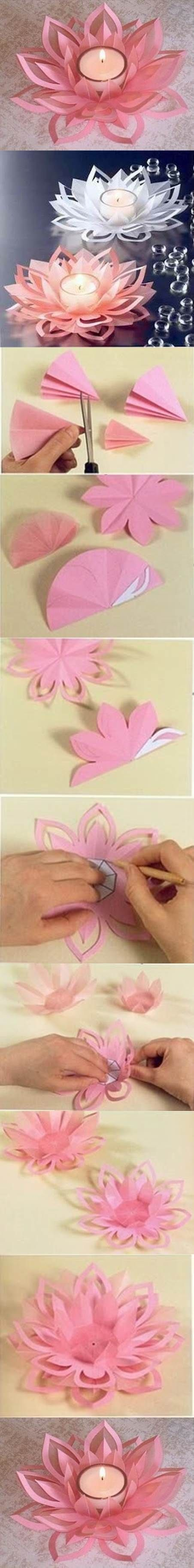 DIY Paper Lotus Candlestick / http://www.himisspuff.com/diy-wedding-centerpieces-on-a-budget/22/