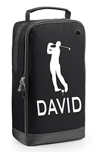 UK Golf Gear - Black Personalised Golf Shoe Bag with Carry Handle - Golfer 6 Motif