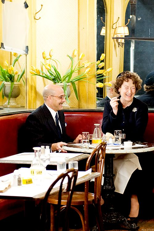 Stanley Tucci and Meryl Streep filming Julie and Julia (2009)
