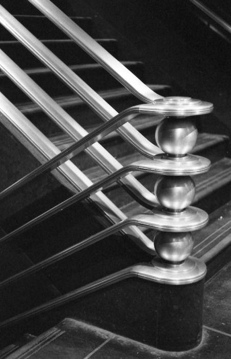 Stair railing. Rockefeller Center, New York, New York. 1939. Raymond Hood.