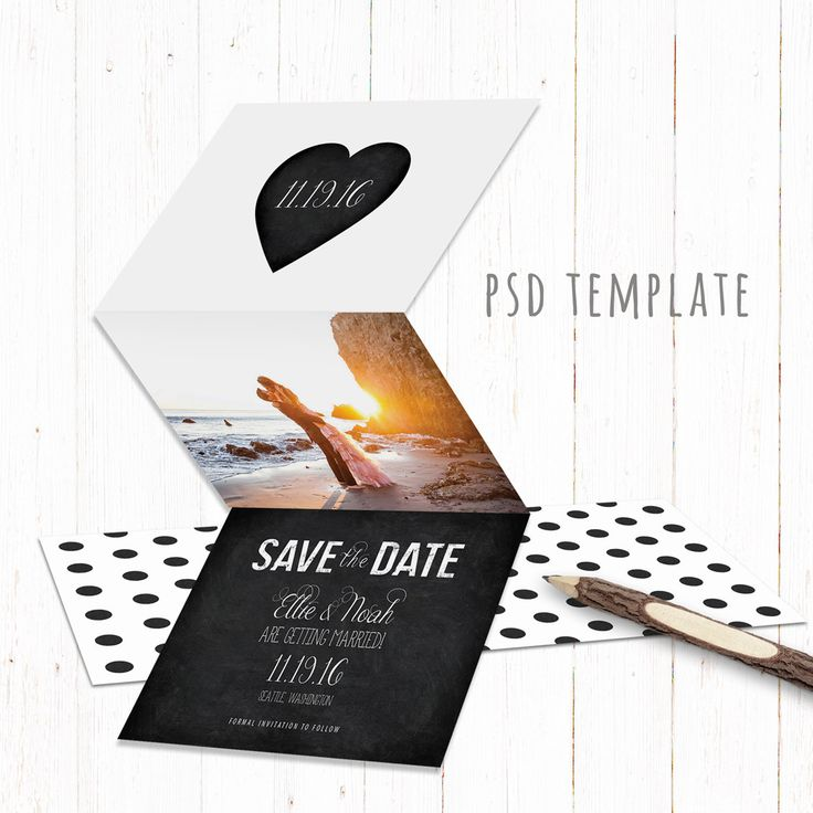 Save The Date template trifold card. Digital engagement announcement card design. Fully editable Photoshop PSD files. 4x6 inch when folded. by PenguinGraphics on Etsy
