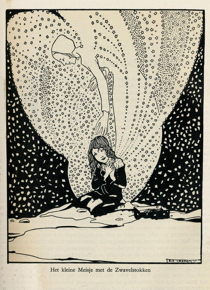 Illustration by  Rie Cramer:    Hans Anderson's Tales, 1915. The Little Matchgirl:
