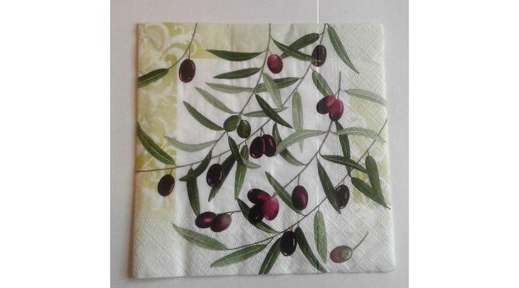 Olivás papírszalvéta - KreatívHobbyDekor webáruház