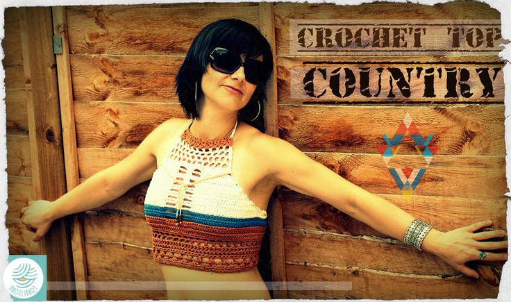SUMMER TOP COUNTRY  / crochet / top na lato  - MadelinART - Topy damskie