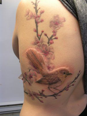 no line nightingale tattoo.  I love this, wonder how it would look with forget-me-nots instead?  But love the blossoms, as is, too