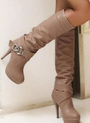 Ladies Fashion Double Strap Buckle High Heel Knee Boots, Shoes, fashion heel ladies boots, Chic