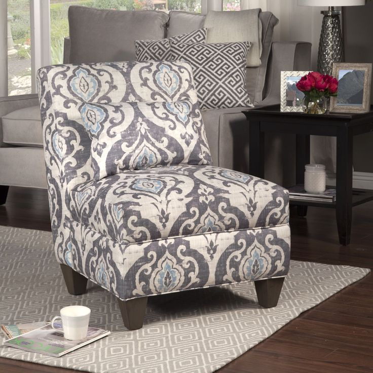 HomePop Blue Slate Large Accent Chair (Gray And Light Blue Large Damask),  Grey (Fabric)