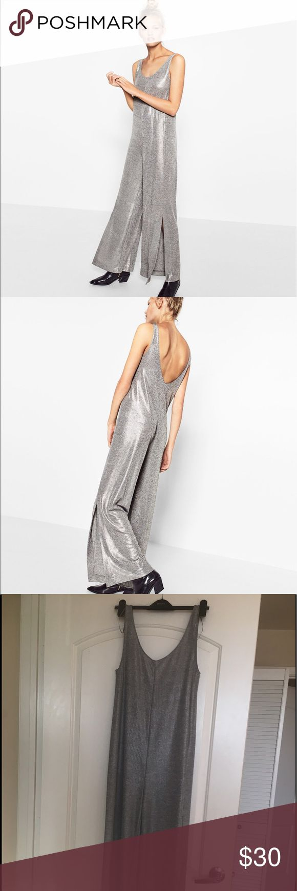 Sexy Zara silver jumpsuit. BRAND NEW WITH TAGS. Sexy, relaxed fit jumpsuit. Bought it in two sizes and this is the one I never wore. Looks amazing cinched with a belt, too. Zara Pants Jumpsuits & Rompers