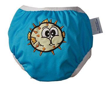 Zwemluier van het merk Monkey Doodlez. Kleur is turquoise met een stoere #blowfish applicatie.  #baby #zwemluier