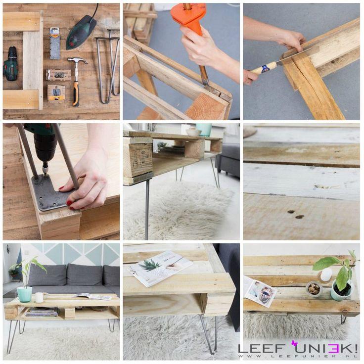 Leef Uniek   DIY   Tafel *Uniek salontafel gemaakt van pallets*