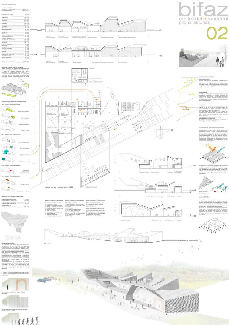 'Azieto', 'Bifaz'. Menciones en el Concurso Centro Neandertal en Piloña, Asturias. | accésit ediciones de arquitectura