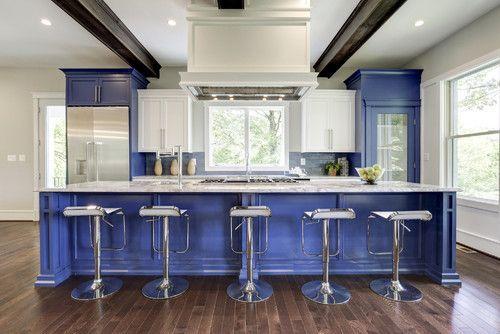 blue kitchen island by Sidd Kashyap Custom Home Builder