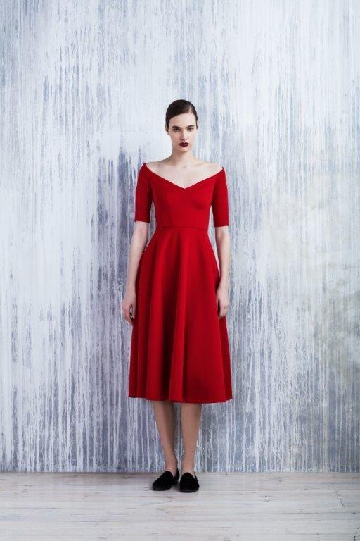 LUBLU Kira Plastinina FW14/15 red neoprene cocktail dress.