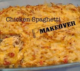 Chicken Spaghetti...No Velveeta, No canned soup. Makes a lot!  Used 3 chicken breasts and spicy Rotel.