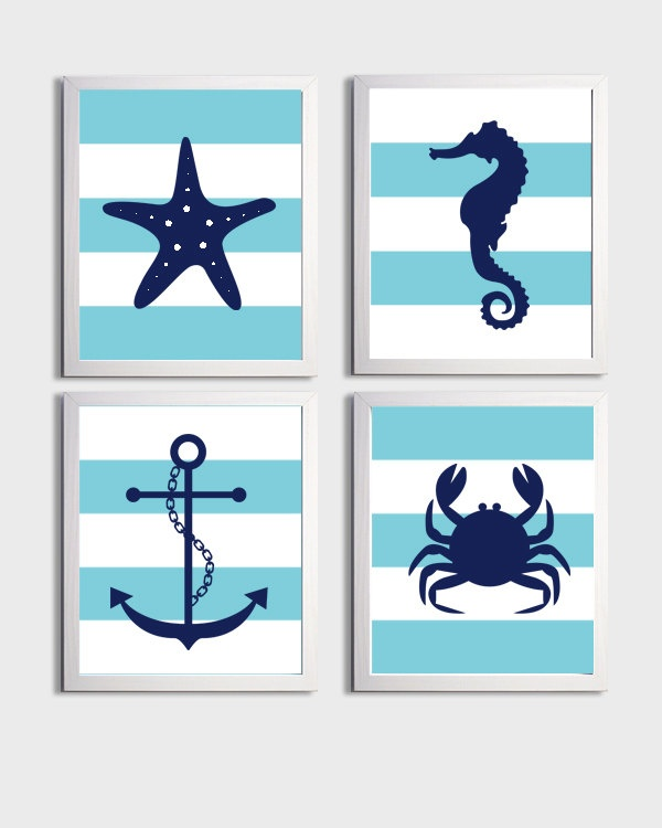 Nursery Art Stripes Nautical Beach Ocean Sea Aqua Navy more colors available set of 4 each 8x10. $48.00, via Etsy.