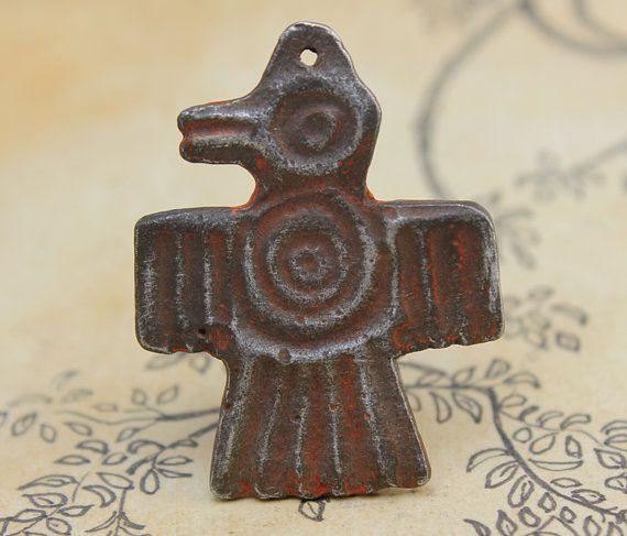 Native American Bird Symbol Pendant Handcast Pewter by Inviciti - handmade…