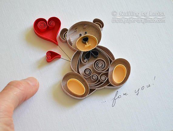 """Quilling arte da parede """".. para você"""" papel quilling arte amor coração Quilling papel urso artesanal decoração design presente"""