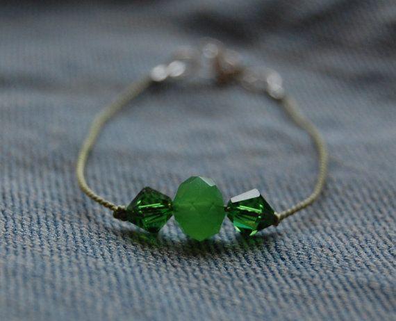 Green silk cord bracelet with swarovskis and glass by AasJewelry