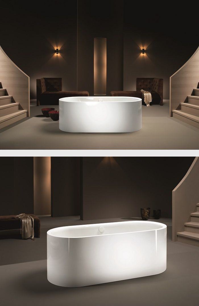 Purism and simple elegance are defining features of the free-standing MEISTERSTÜCK CENTRO DUO - as is its perpendicular enamelled panelling. #Kaldewei #Bathtub #Bath #Badewanne #Badezimmer #Bathroom #Meisterstück