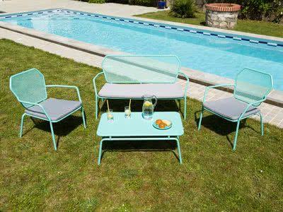 Salon bas de jardin 4 places en acier ajouré : 1 canapé 2 places + 2 ...