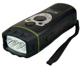 Wolf to wielofunkcyjne urządzenie wykorzystujące maksymalnie wszystkie możliwości, jakie dają odnawialne żródła energii. Latarka LED na dynamo z wbudowanym radiem i alarmem dźwiękowym. / POWERplus Wolf is a high quality dynamo 3 LED flashlight with integrated FM scan radio. PLN74.99 / $20