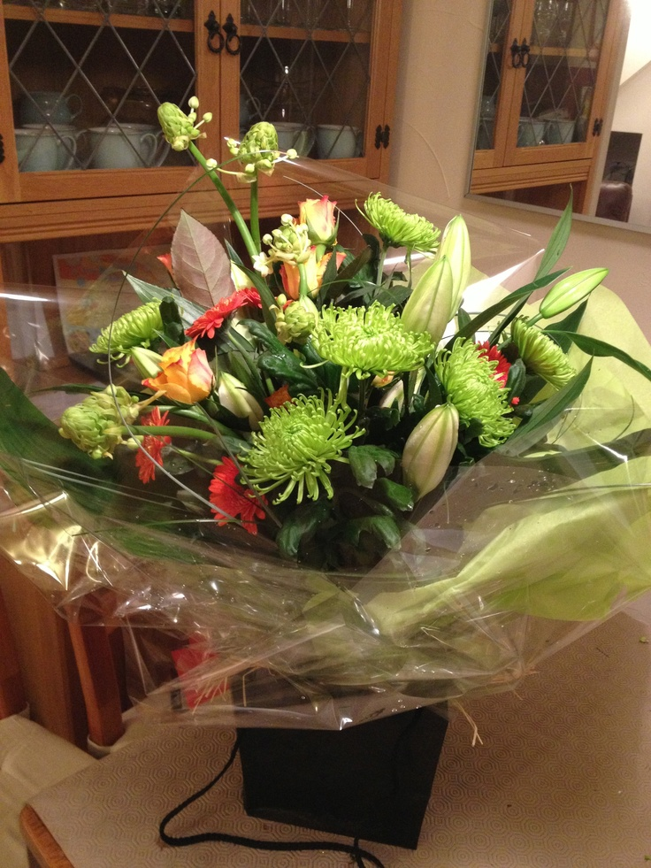 Contemporary Bouquet, Lilies, Shamrock Chrysanths, Gerbera and Roses,