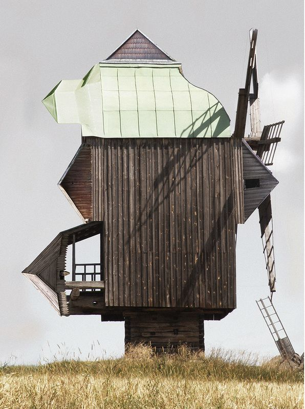 Genius Loci - ANASTASIA SAVINOVA - A windmill / RU Collage, printed on paper, various sizes