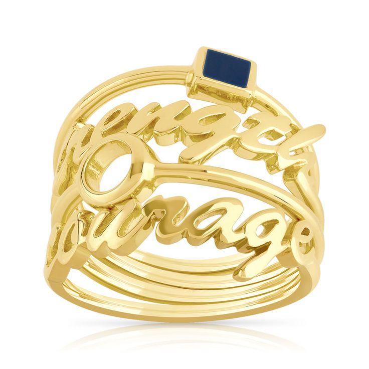 """Lot de 4 bagues plaque or Marion Bartoli by MATY - Femme - Bague   MATY igne Messages, à porter ensemble ou séparément, anneau motif carré en résine couleur bleu marine, anneau motif """"strength"""", anneau motif rond et anneau motif """"courage"""". Taille 50 à 62."""