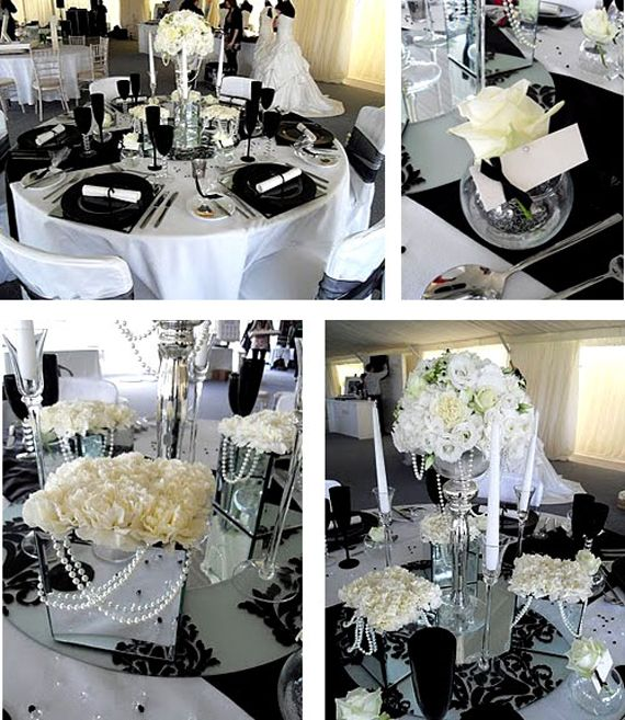 Black and White Wedding Table Sets Decoration Ideas. Black plates, mirrored table  centerpieces and white roses.
