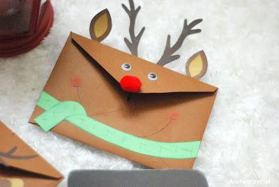 Rudolf czerwononosy w postaci papierowej, handmade'owej koperty! :)