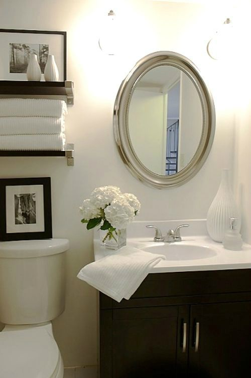 I like the warmth of this small bathroom.  Cozy but not too confined.  Needs a towel holder.  Pedestal or cabinet?