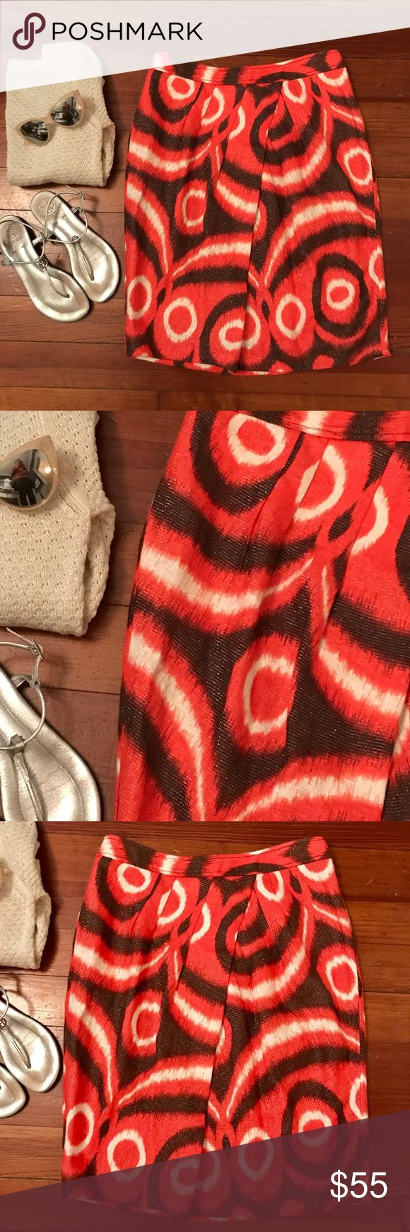 """Tory Burch Metallic Thread Linen Skirt NEW Beautiful Ikat print linen skirt! The color is a vibrant red orange called """"Poppy"""" with brown, cream and a gorgeous metallic thread. Pleated front and hidden zipper in back. NEW!! Tory Burch Skirts Midi"""