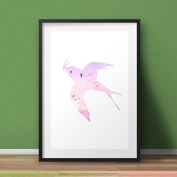 Swallow Bird  Pastel Poster  Silhouette Printable Wall Art