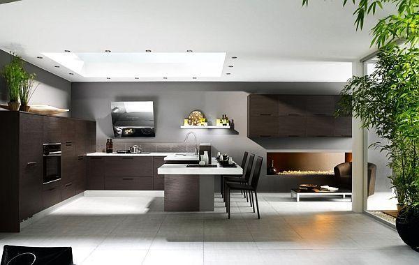 Modern design kitchen in black and white