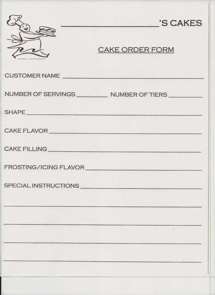 Spark and All: Jake Bakes Cakes - Cake Order Form