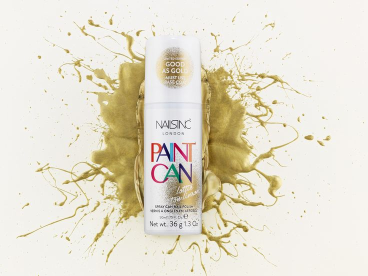 Discover the hottest new Paint Can spray on nail polish shade – 'Good as Gold' by make-up artist Lottie Tomlinson.