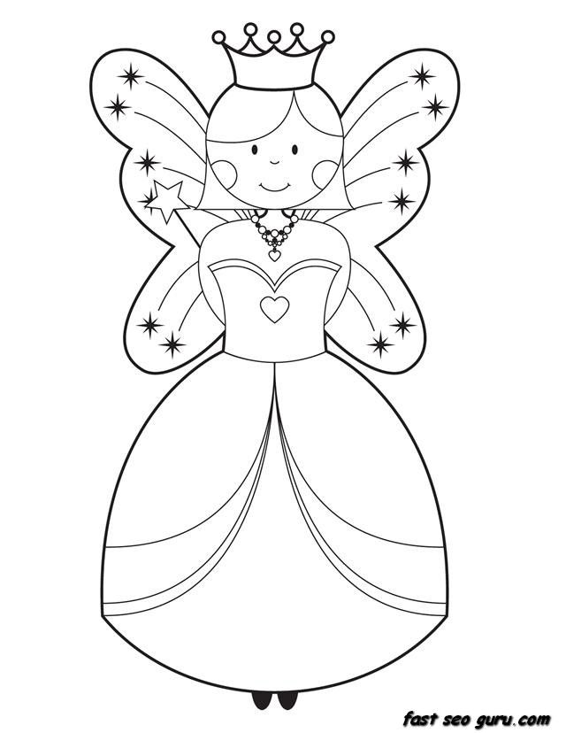 Printable Cute Fairy Coloring Pages For Girls 640x828