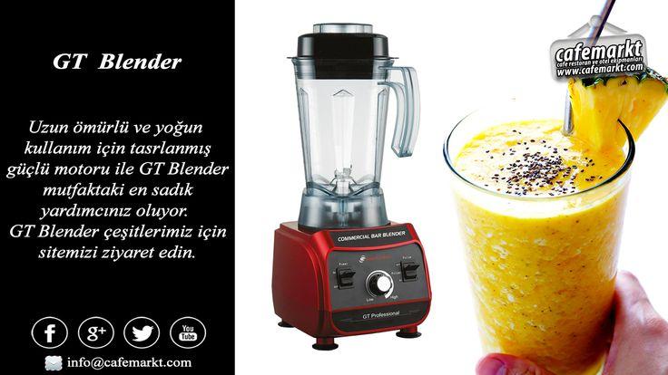 Uzun ömürlü ve yoğun kullanım için tasarlanmış güçlü motoru ile öne çıkan GT blender mutfaktaki en sadık yardımcınız olacak. GT blender çeşitleri için sitemizi ziyaret edin. http://www.cafemarkt.com/gt #Cafemarkt #Blender #GTBlender #BarBlender #ProfesyonelBlender