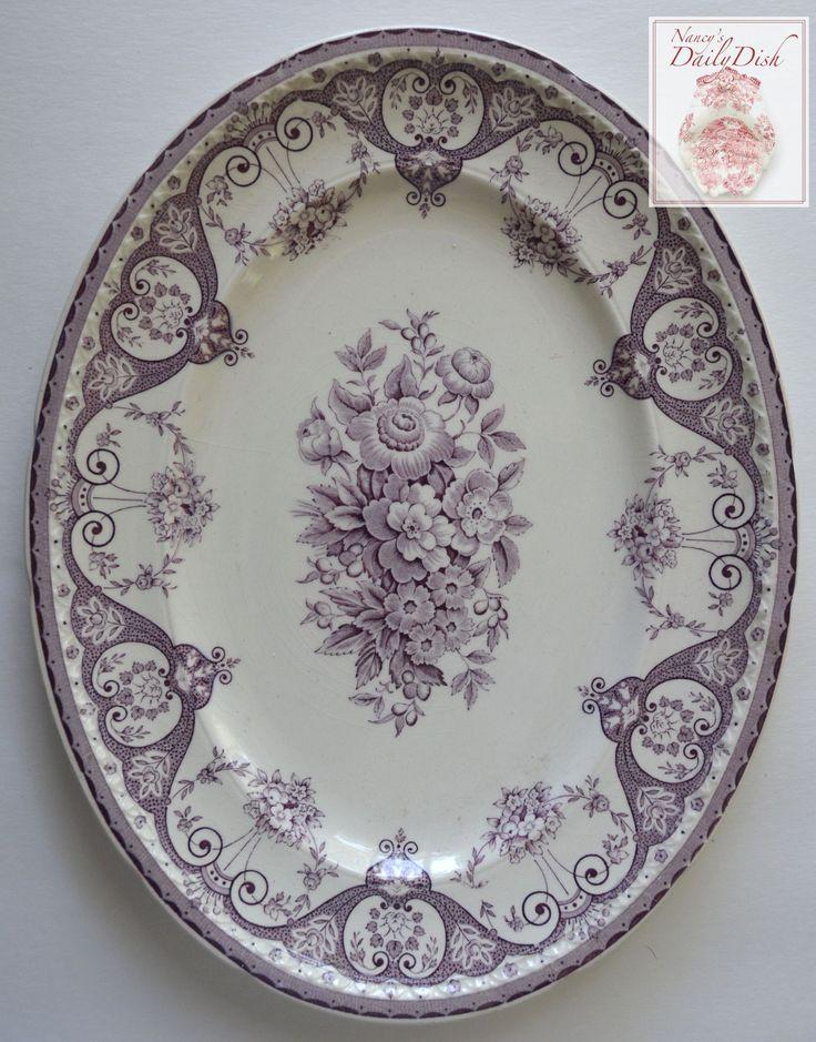 Purple Vintage English Transferware Platter Shabby French Victorian Ro