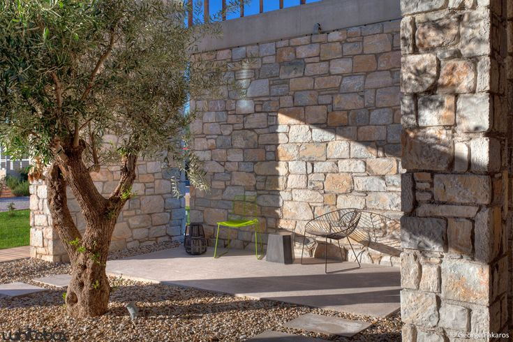 Architecture Design, Rock Wall And Single Green Plants As Gray Floor Stone House In Anavissos 07: Tremendous Stone House in Anavissos by Whitebox Architects