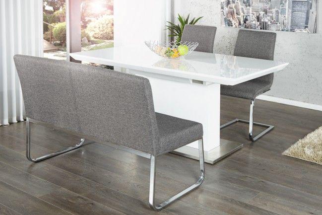 Elegante Sitzbank HAMPTON mit Rückenlehne Strukturstoff grau 120 cm  130 Euro
