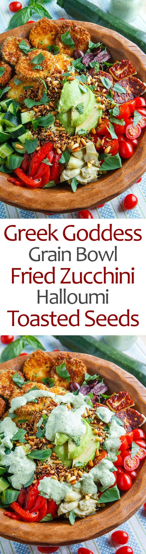 Greek Goddess Grain Bowl with Fried Zucchini, Halloumi and Toasted Seeds recipe. Protein:  seeds, nuts, cheese