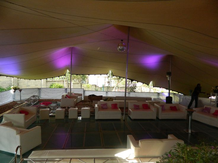 stretch tent on top of a swimming pool, really out of the box set up